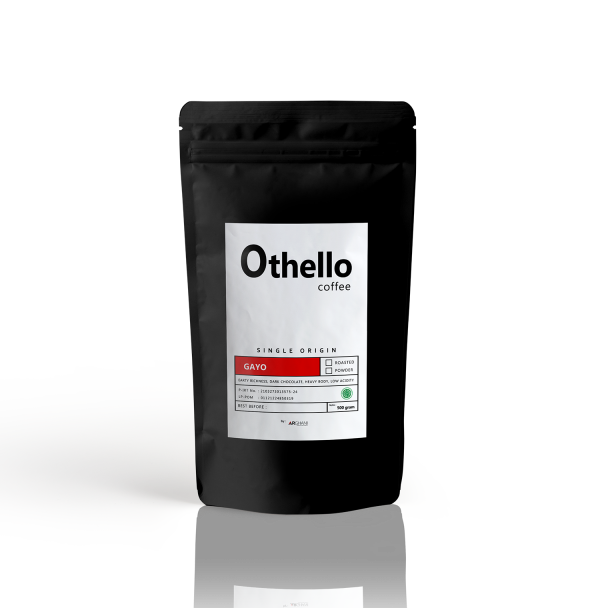 Othello Coffe Single origin Packaging depan gayo